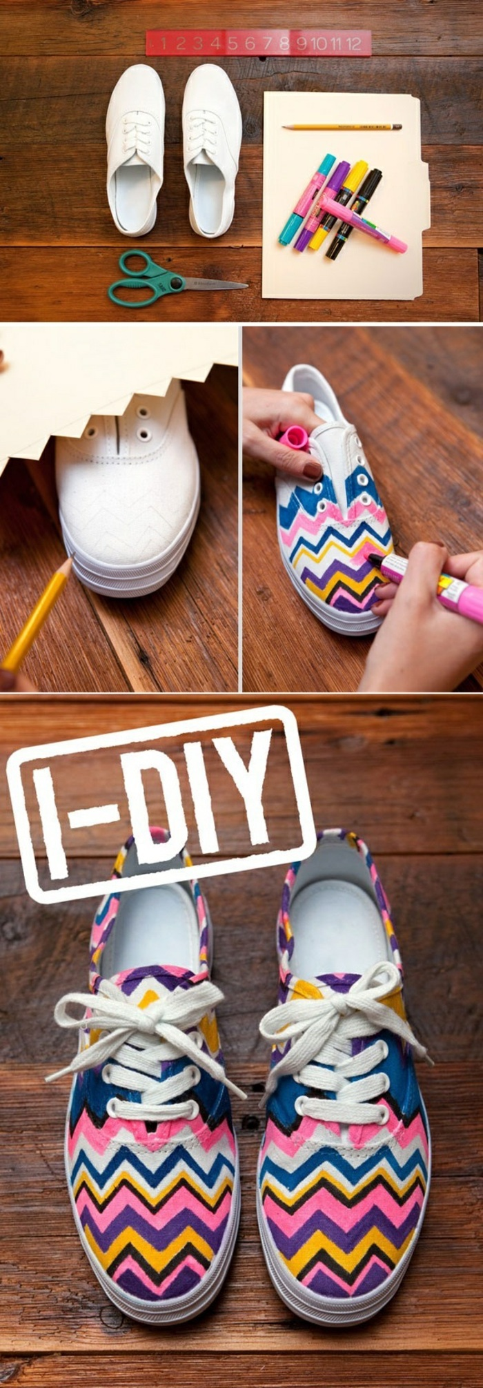 coloured sneakers, colourful markers, white sneakers, diy tutorial, step by step, craft ideas for adults