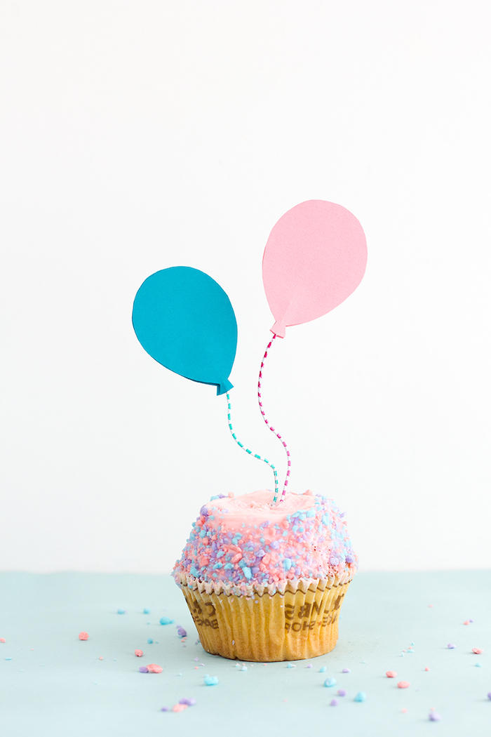 pink and blue balloon, cake toppers, colourful sprinkled cupcake, birthday themes, diy tutorial