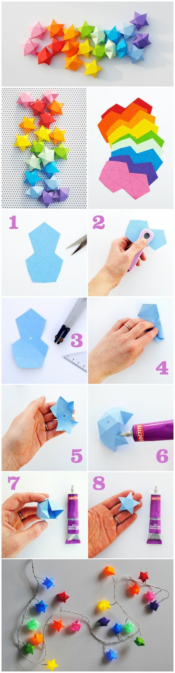 colourful paper, cut into stars, craft ideas for adults, string of lights, diy tutorial, step by step