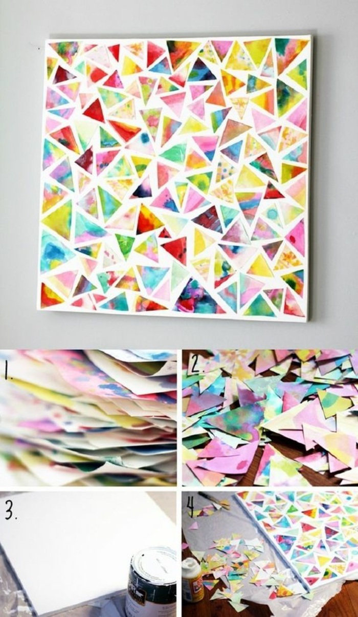 abstract art, small triangles, cut of coloured paper, glued next to each other, craft ideas for adults