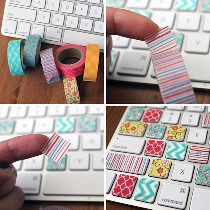 colourful washi tape, stuck to keyboard buttons, arts and crafts for toddlers, wooden table