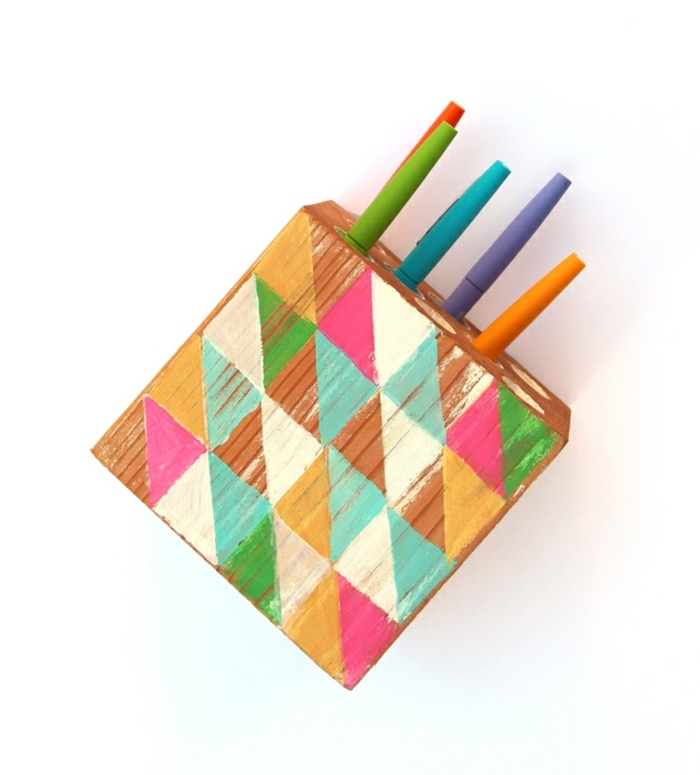 colourful wooden box, pencil holder, white background, crafts for adults