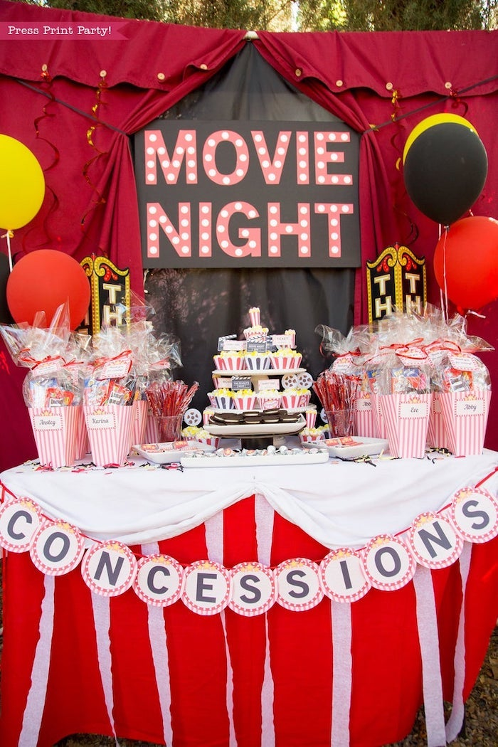 movie night, concessions stand, birthday party ideas for teens, cupcakes and popcorn