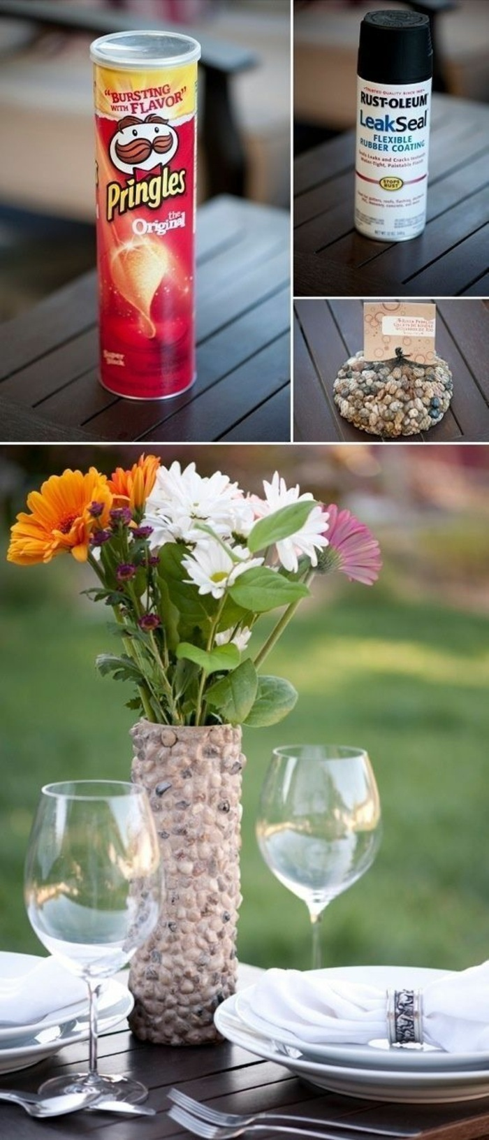 pebble rocks, pringles can, crafts to do at home, bouquet of flowers, rock vase, wine glasses