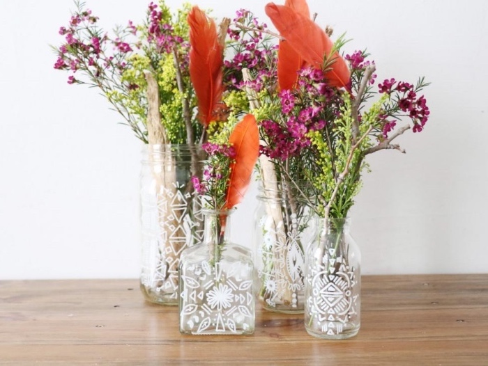 glass bottles and jars, painted in white, diys for girls, colourful flower bouquets, wooden table