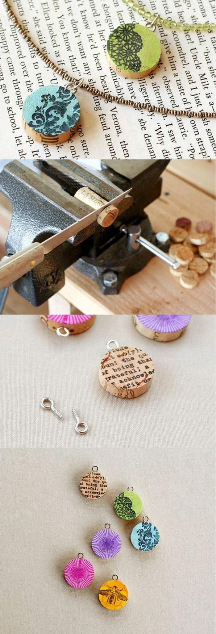 cork necklaces, with different prints, crafts to do at home, diy tutorial, step by step