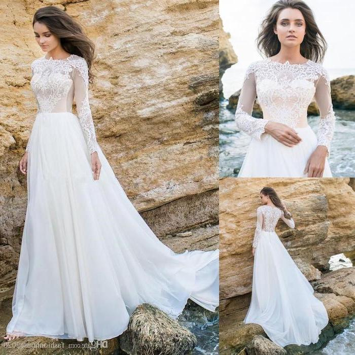 side by side photos, woman standing on rocks, long sleeve bridal gowns, wavy long brown hair