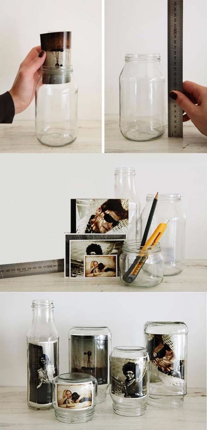 glass jars, photos inside, crafts to make and sell, diy tutorial, step by step