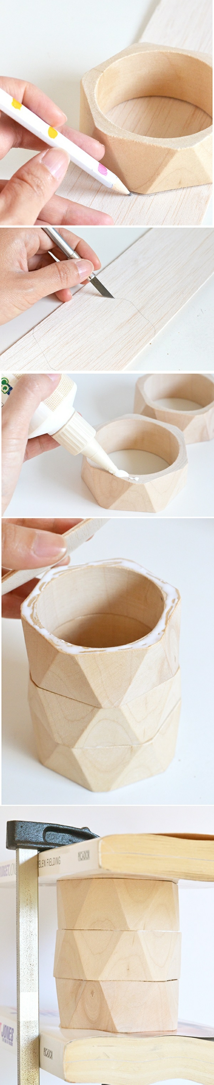 wood bangles, glued together, step by step, cool diys, diy tutorial