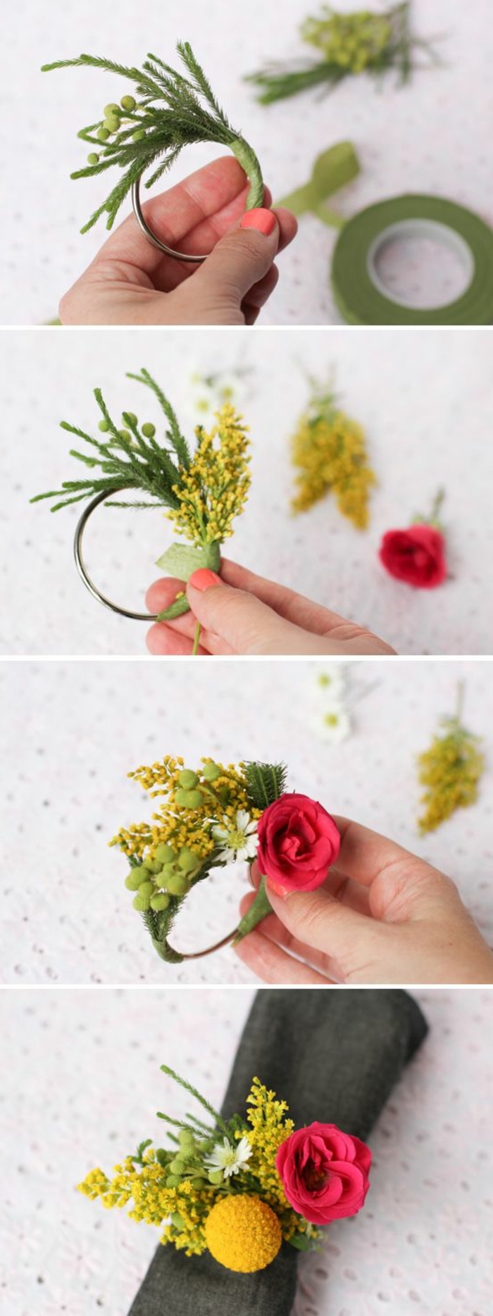 floral napkin ring, black napkin, crafts to make and sell, diy tutorial, step by step
