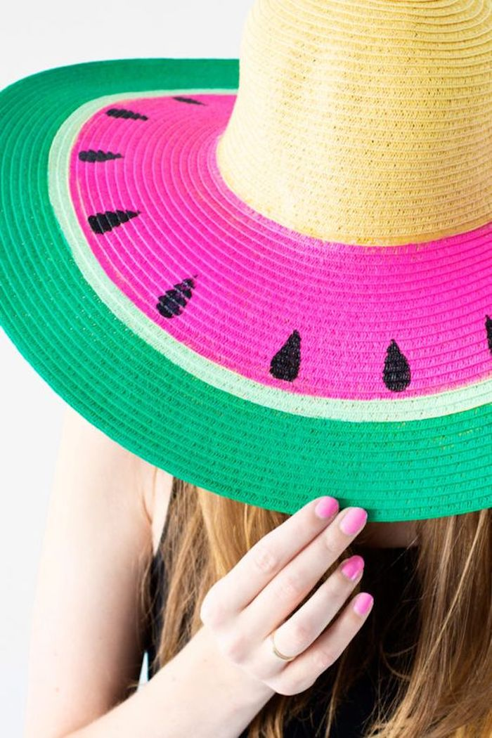 diys for girls, straw hat, painted as a watermelon, pink nail polish