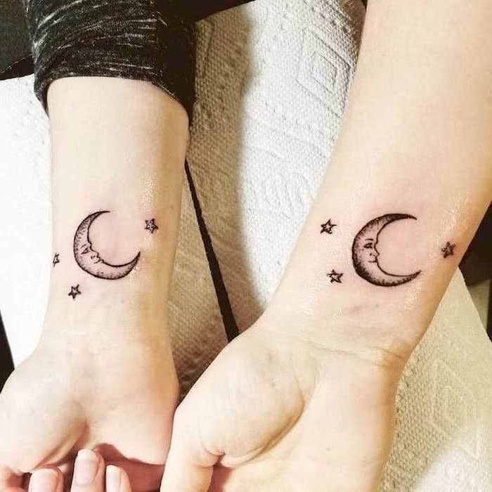 crescent moon and stars, wrist tattoos, mother daughter tattoo ideas, white paper