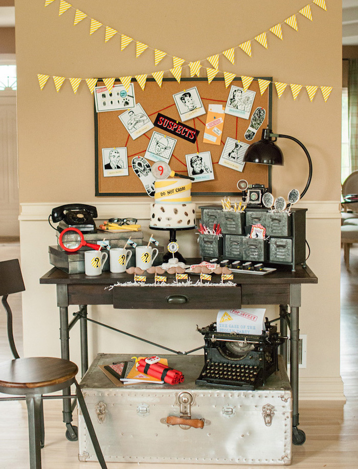 party theme ideas, murder mystery, crime solving theme, do not cross cake, suspects board