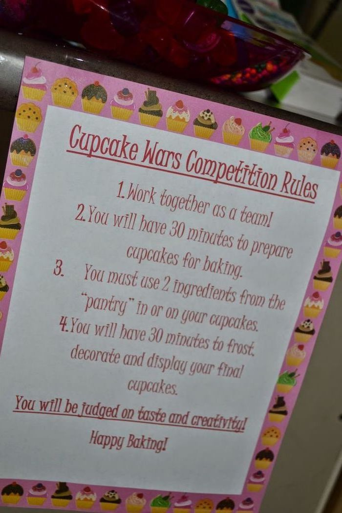 cupcake wars competition rules, fun game, baking challenge, 18th birthday party ideas