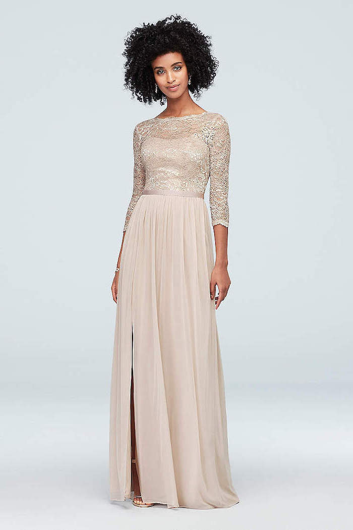 curly black hair, lace top, chiffon skirt, quarter sleeves, vintage bridesmaid dresses, with slit