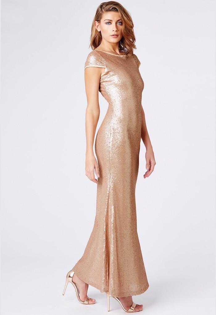 long gold dress, gold bridesmaid dresses, blonde wavy hair, gold sandals