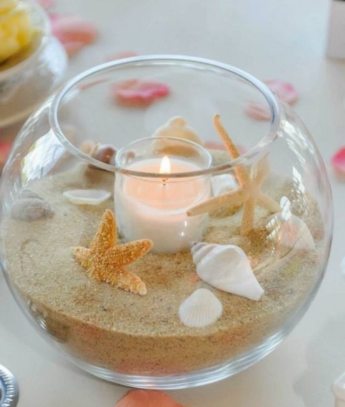 glass aquarium, filled with beach sand, seashells and stars, candle holder, diys for girls