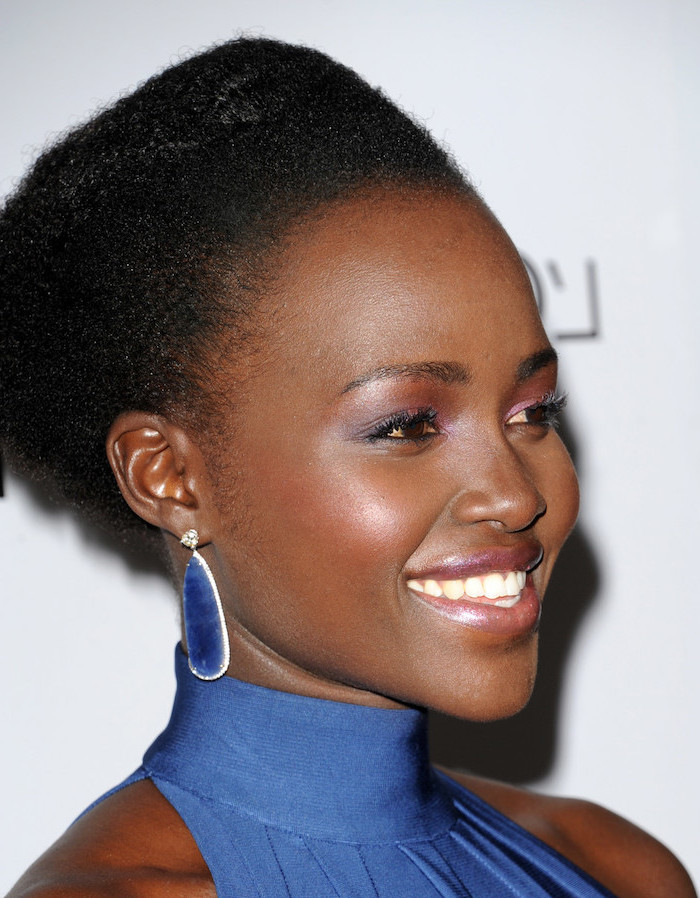 blue polo dress, blue earrings, lupita nyong'o, black hair, pixie cut black women
