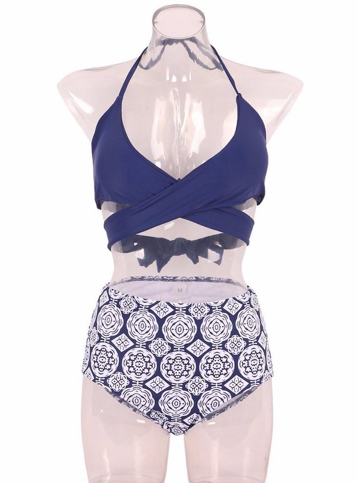 dark blue wrap around top, printed high waisted bottom, two piece, toddler girl bathing suits, white mannequin