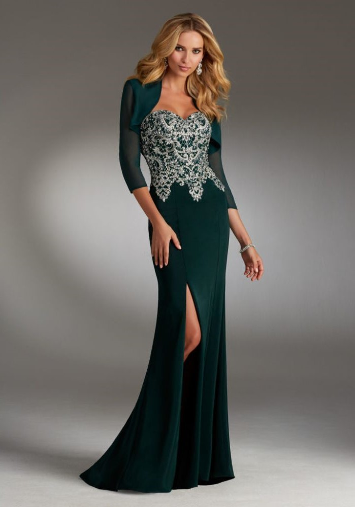 dark green velvet, silver lace top, tulle quarter sleeves, petite mother of the bride dresses, blonde wavy hair