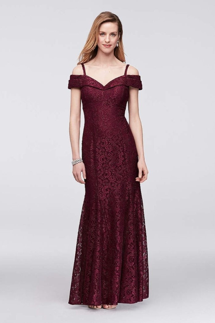 red burgundy, long lace dress, mother of the bride tea length, off the shoulder neckline, blonde wavy hair