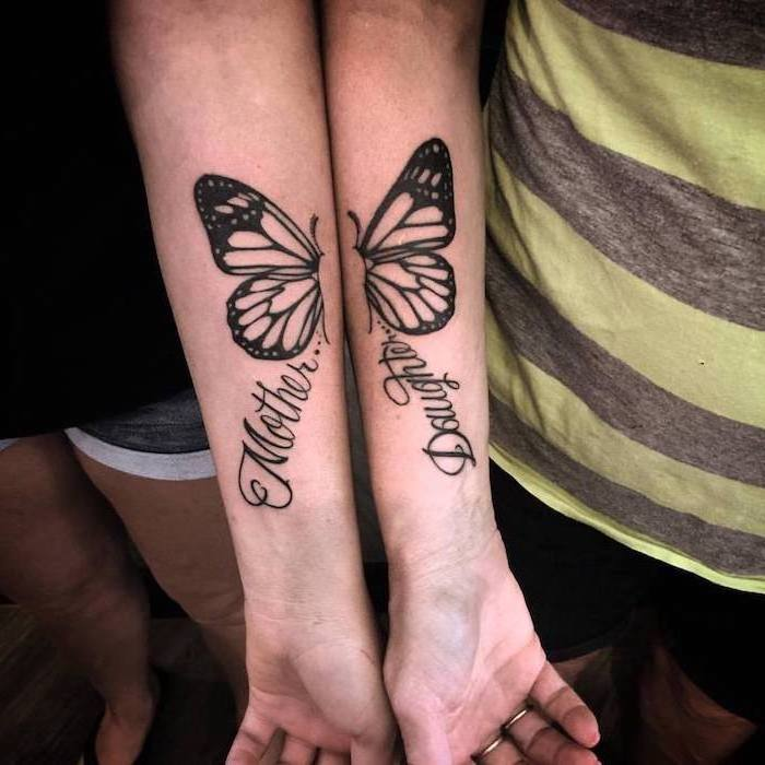 two halves of a butterfly, matching mom and daughter tattoos, forearm tattoos