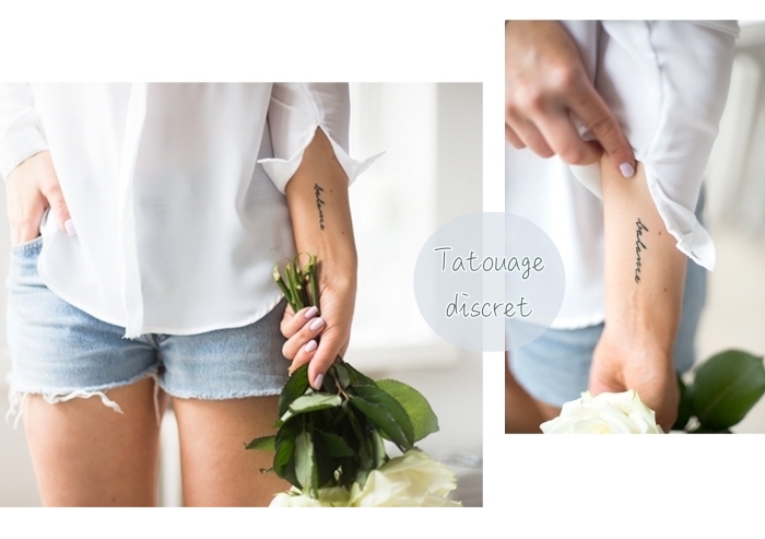 discreet tattoo, denim short, white shirt, white roses flower bouquet, wrist tattoo