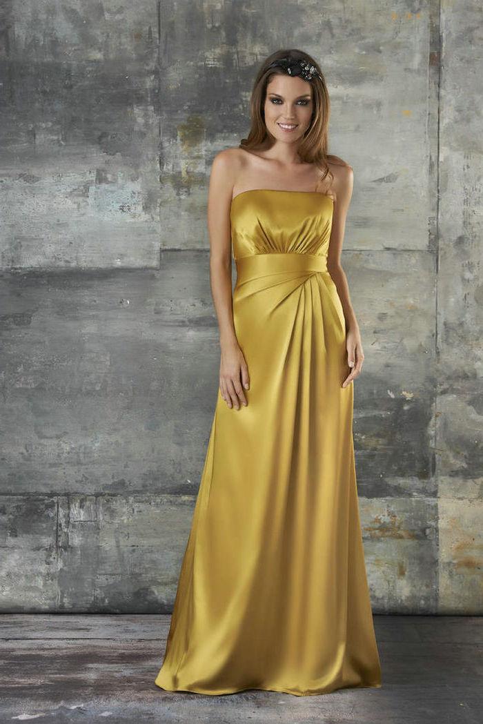 strapless satin gold dress, brown wavy hair, beaded bridesmaid dresses