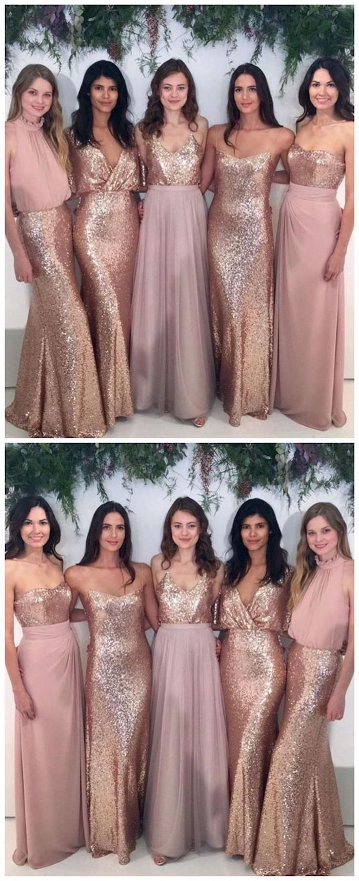 beaded bridesmaid dresses, rose gold, strapless dresses, sequins and chiffon