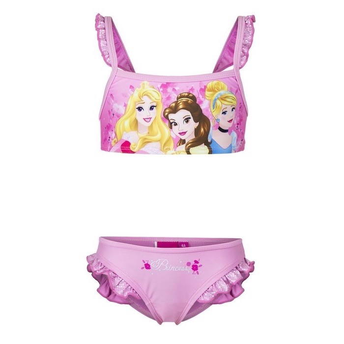 bathing suits for teens, two piece, disney princesses, aurora belle and cinderella, pink top and bottom