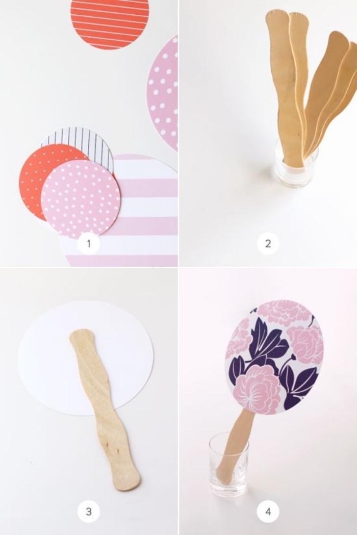 wooden popsicle sticks, colourful carton, diys for girls, paper fan