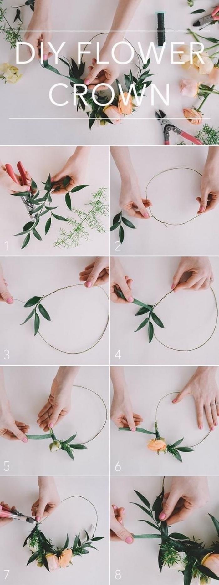 diy flower crown, cool diy projects, step by step tutorial