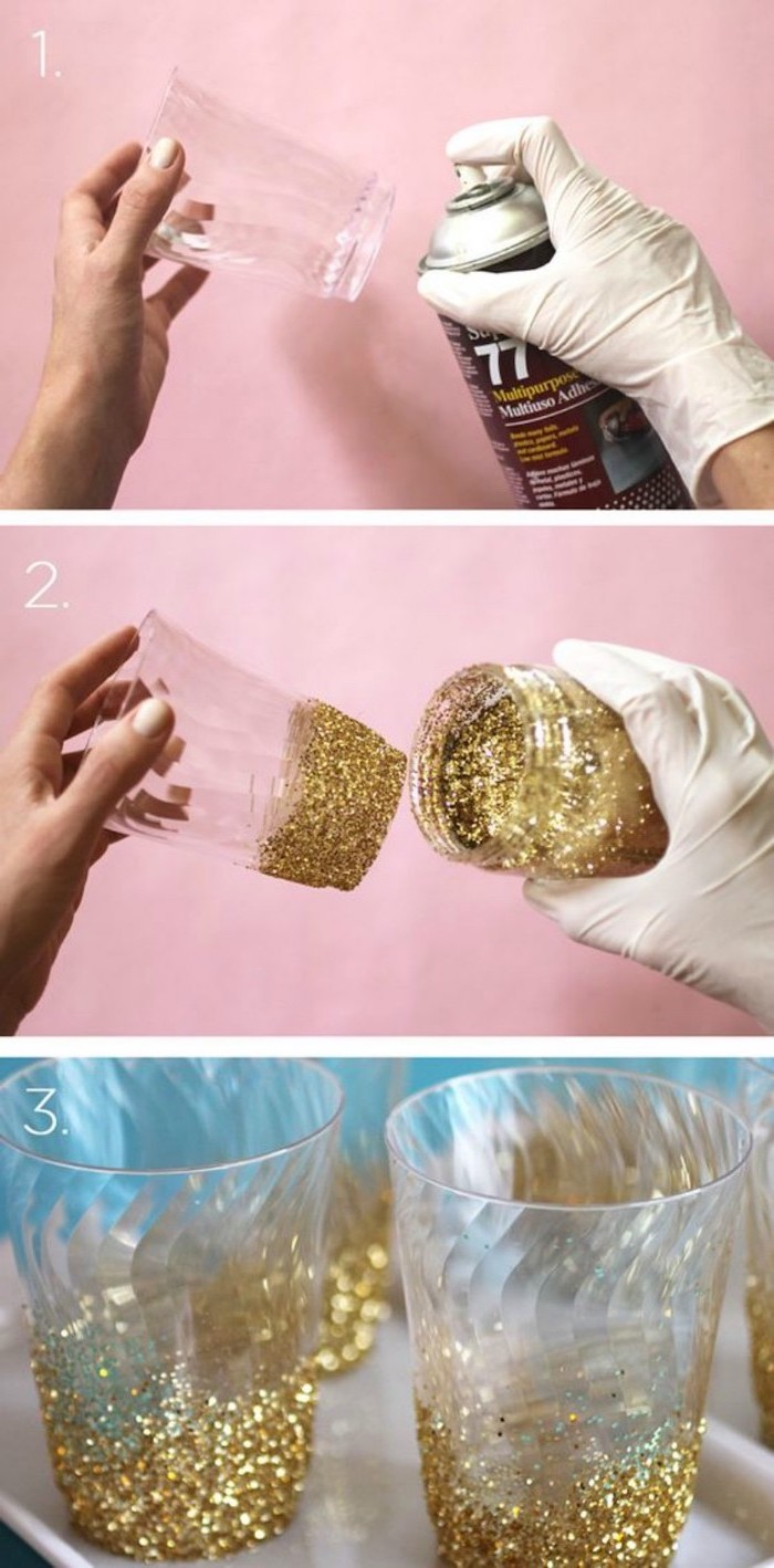 gold glitter, 18th birthday party ideas, diy tutorial, step by step, glitter bottom glasses