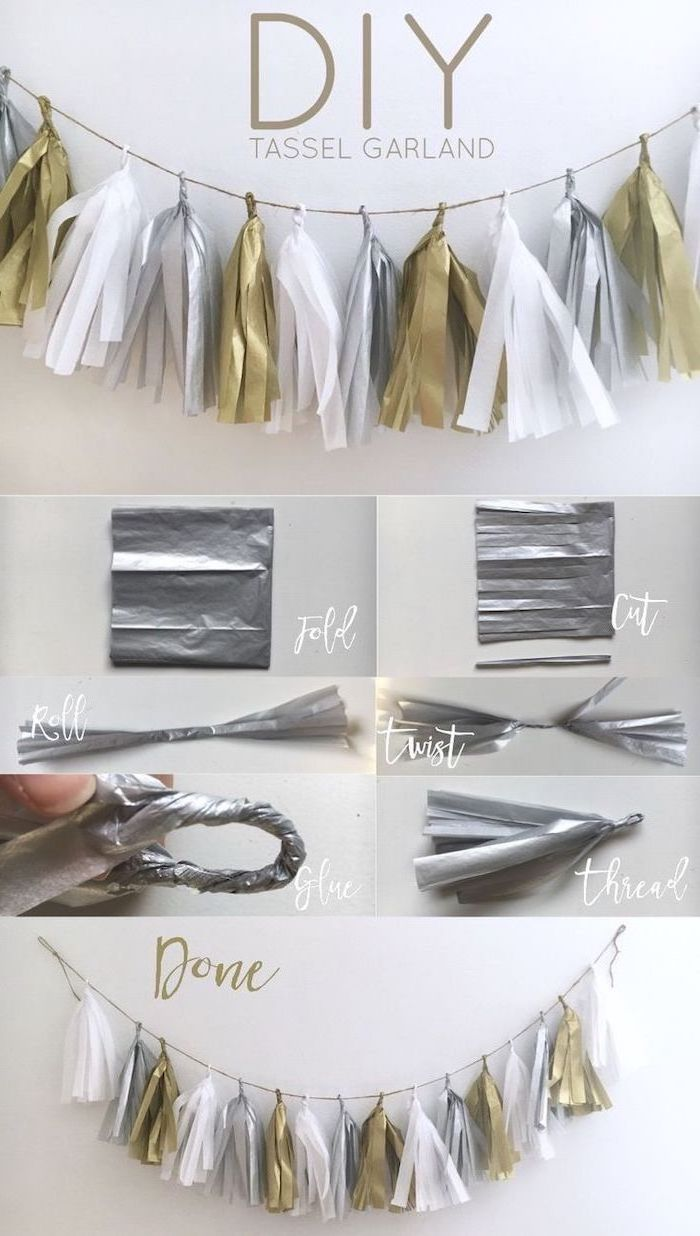 diy tassel garland, in silver gold and white, 18th birthday party ideas, step by step tutorial