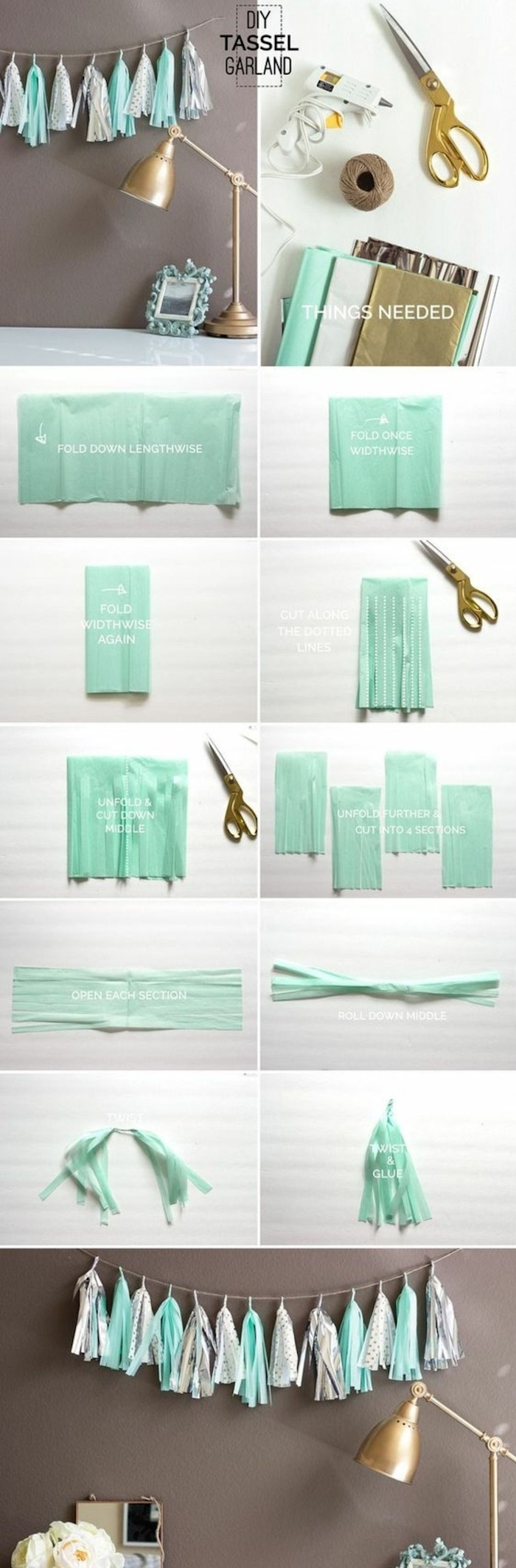 tassel garland, cool diy projects, step by step, diy tutorial, turquoise and grey paper