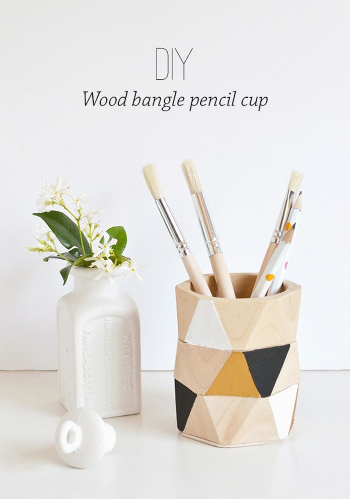 wood bangle pencil cup, painted in black gold and white, cool diys, white vase, white flowers