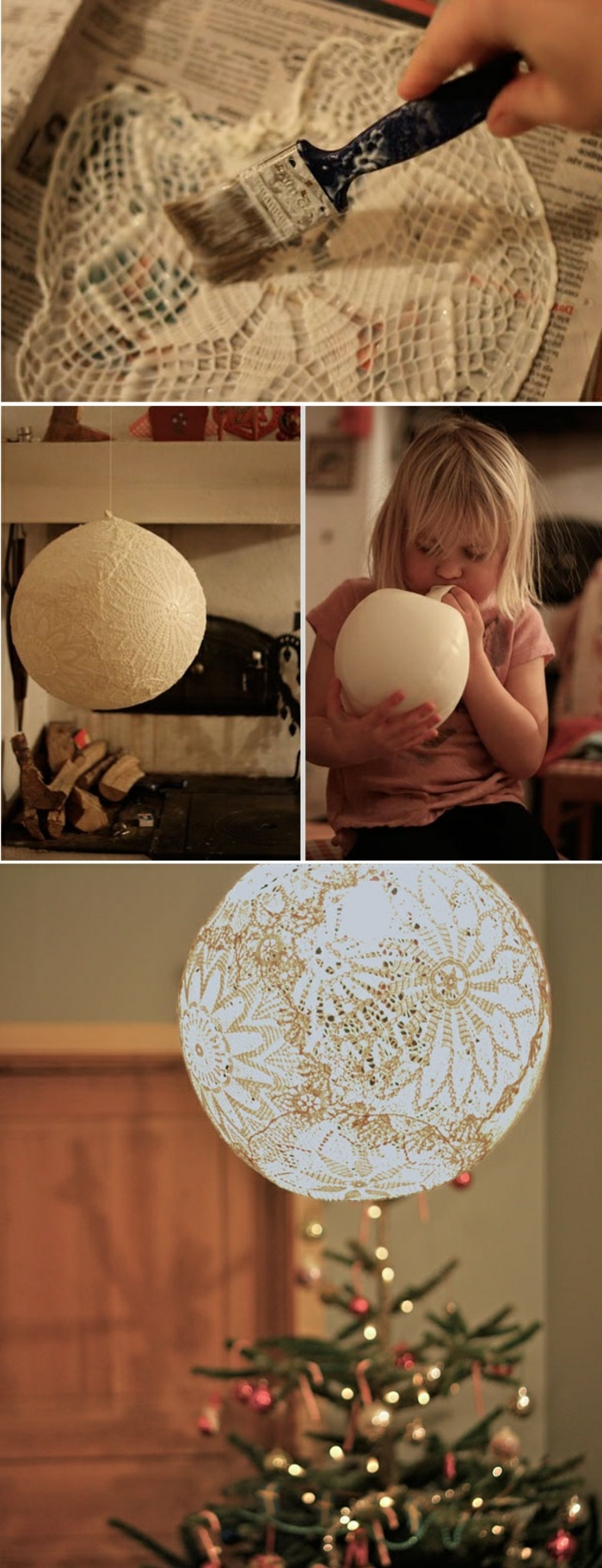 lamp shade, over a christmas tree, girl blowing up a balloon, cool diy projects