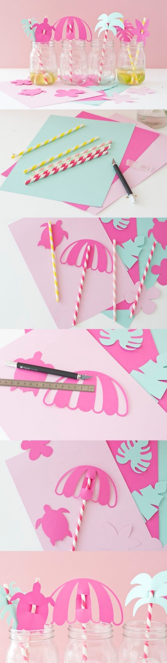 cocktail glass decorations, made of paper, cool diy projects, pink and green paper, paper straws