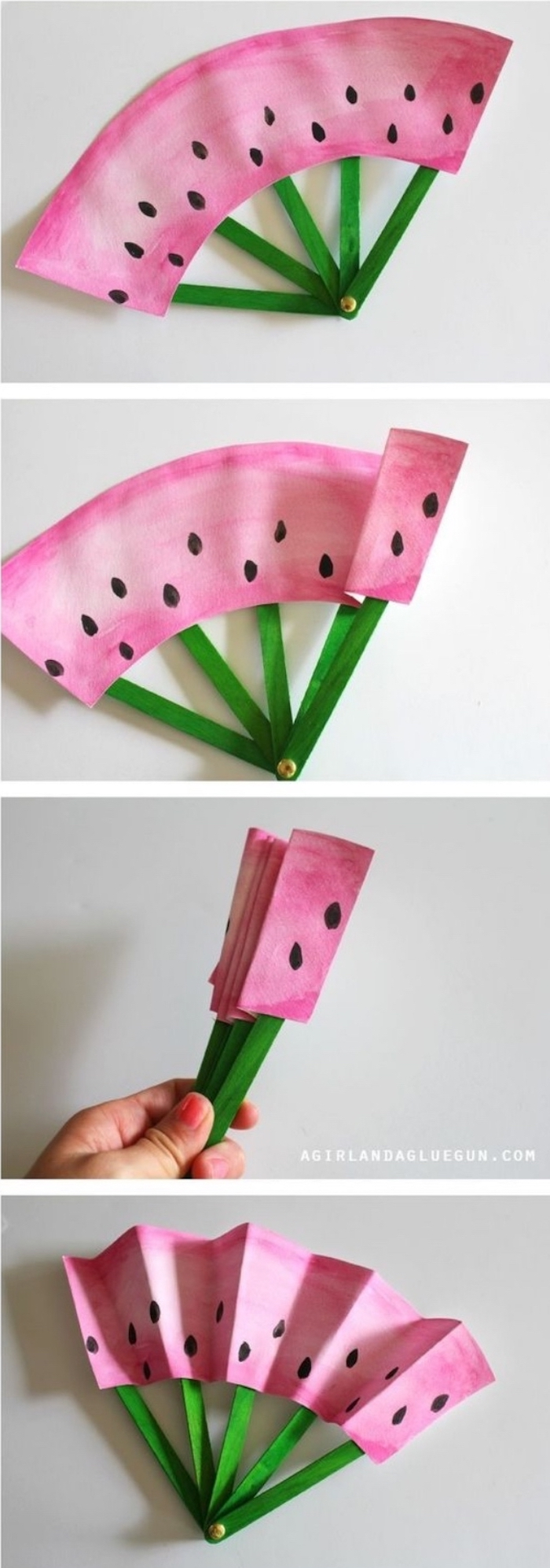 cool diy projects, paper fan, painted as a watermelon, wooden popsicle sticks