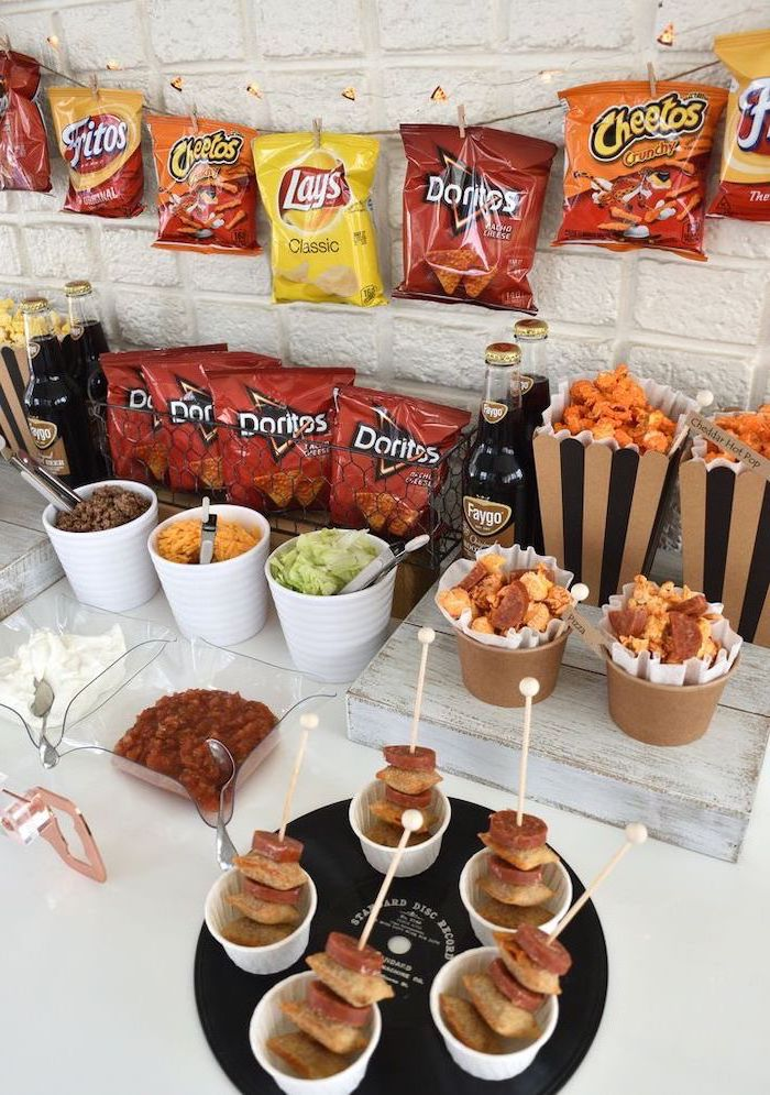 nachos bar, themes for parties, make your own nachos, salsa and guacamole, sour cream and cheese