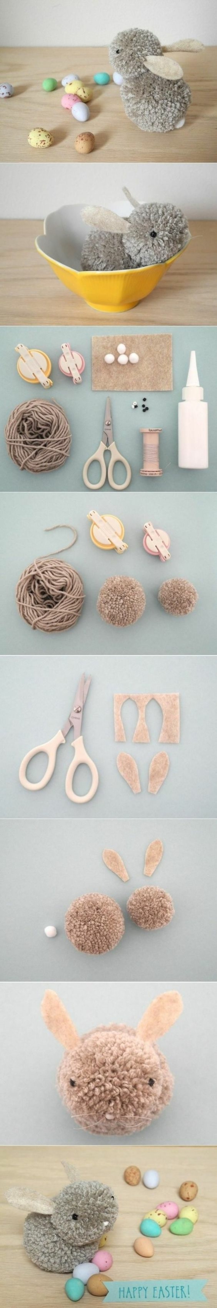 easter decoration, small bunny, made of grey yarn, cool diy projects, step by step tutorial