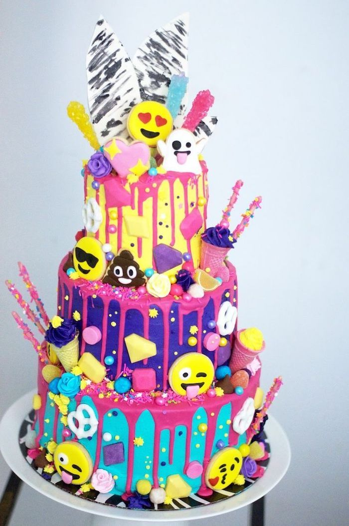 emoji cake, three tier cake, fun games for teens, colourful sprinkles, blue purple and yellow
