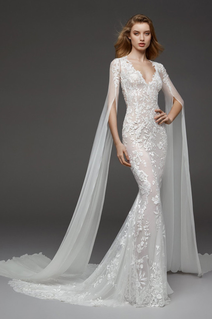 blonde wavy hair, long sleeve bridal gowns, extra long chiffon sleeves, lace dress