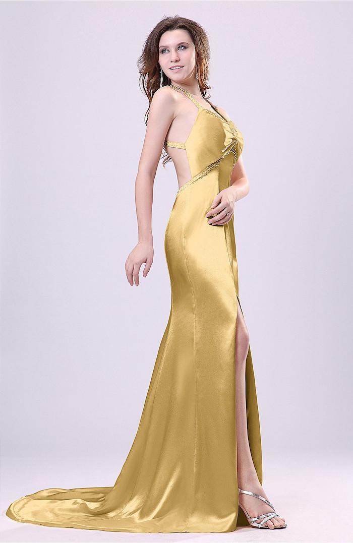 gold satin long dress, with slit, silver sandals, beaded bridesmaid dresses, brown wavy hair