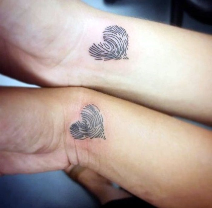 fingerprint hearts, wrist tattoos, matching tattoo ideas, side by side arms