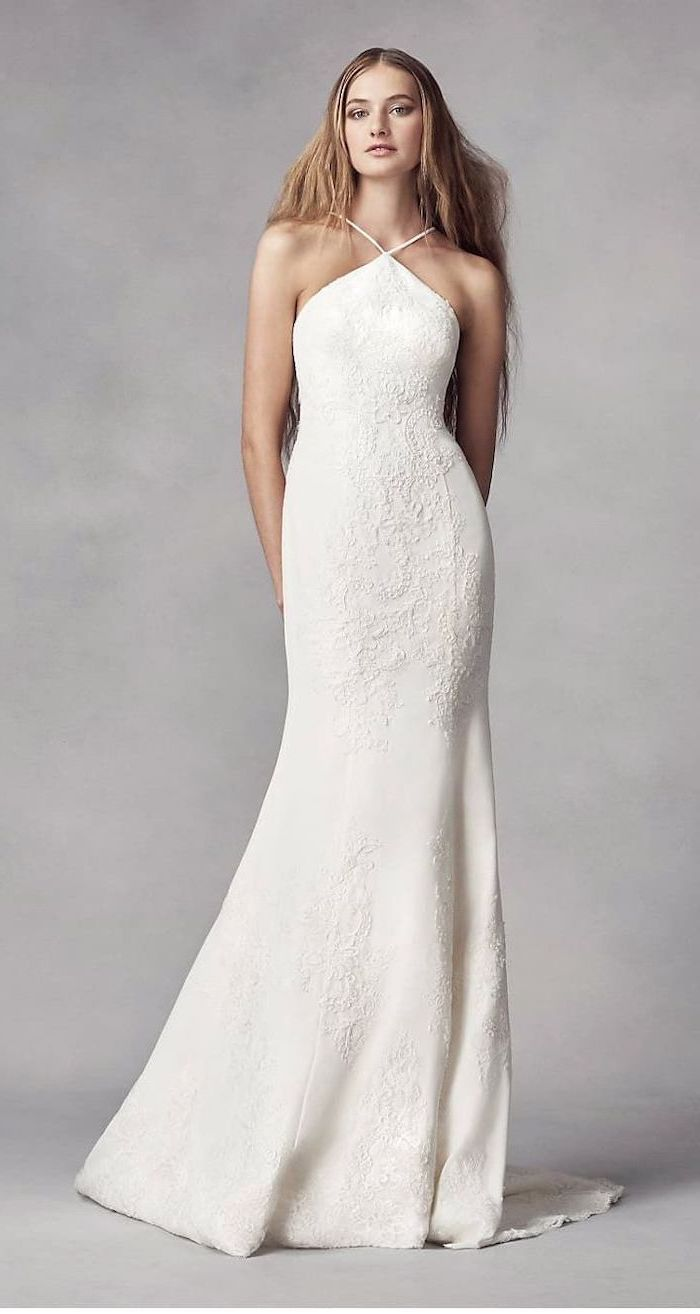wedding dresses for beach wedding, long white dress, fit and flare, long blonde hair, jewel neckline