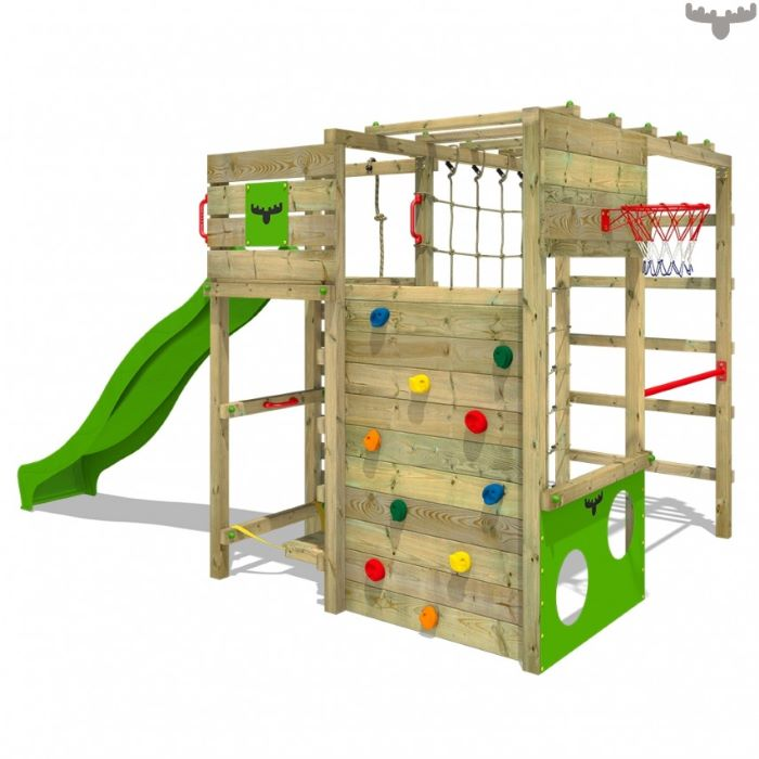 climbing frame, with diffrent activities, green slide, climbing wall, basketball hoop