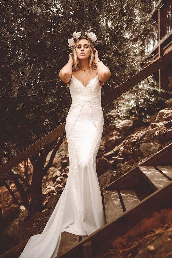 vintage dress, long train, flower crown, short blonde wavy hair, simple beach wedding dresses, wooden staircase