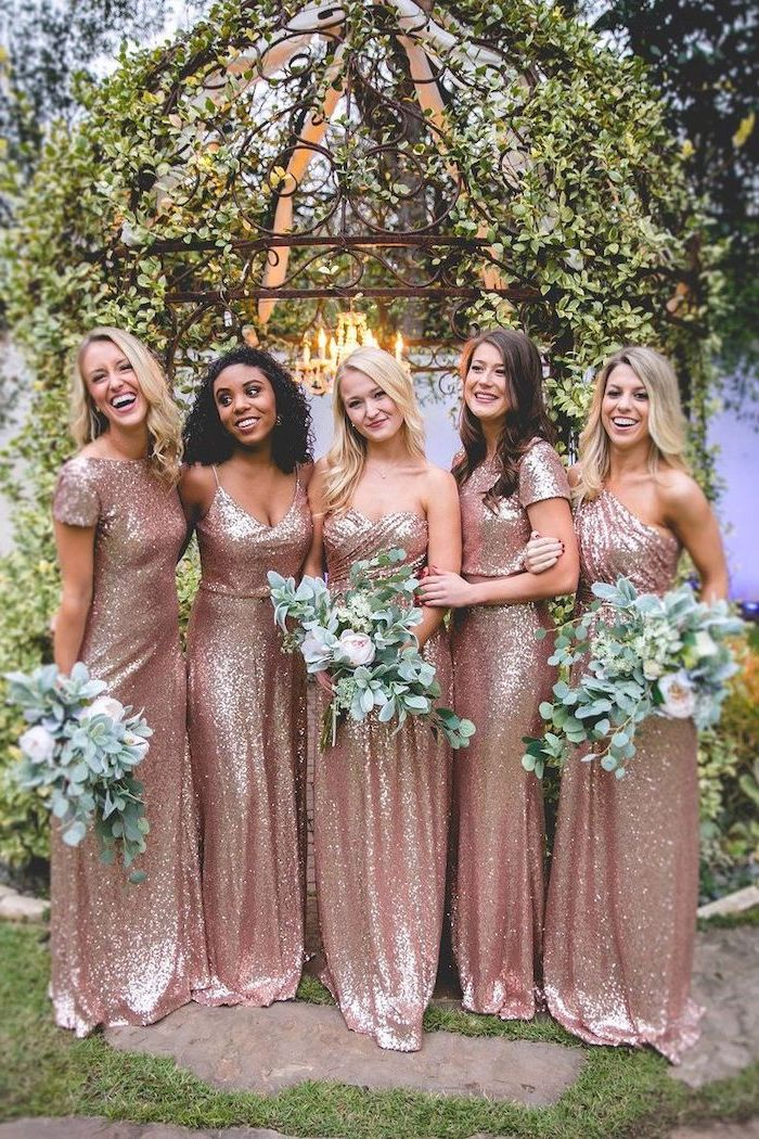 gold sequin bridesmaid dresses, rose gold sequinned dresses, large flower bouquets