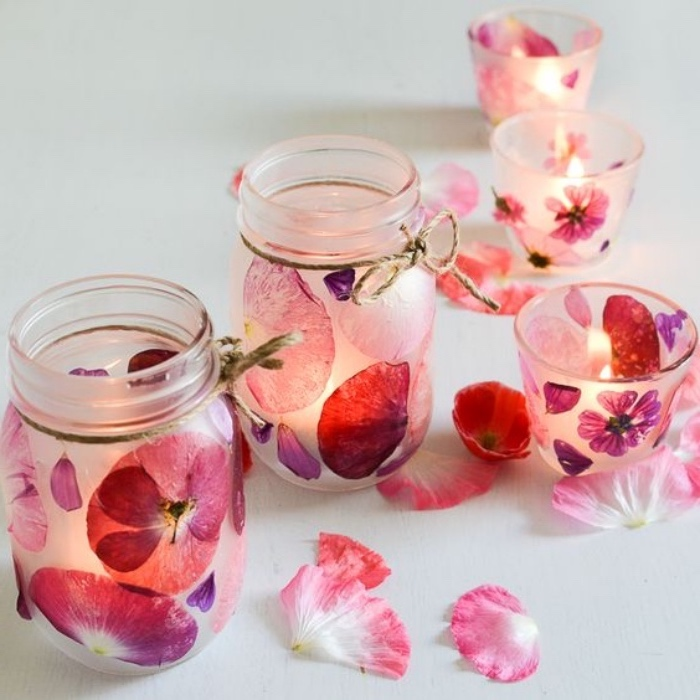mason jars, what to do when your bored for kids, candle holders, filled with flower petals